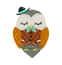 Cartoon owl flat mascot vector image