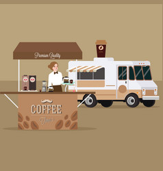 Coffee truck trailer with waitress serving vector