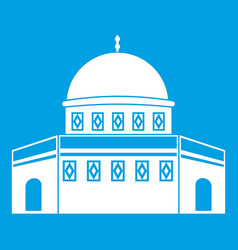Dome of the rock on the temple mount icon white vector