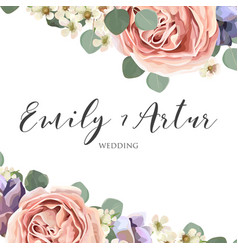 Floral elegant botanical save the date card design vector