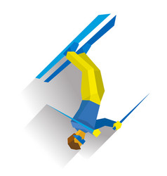 freestyle skiing half-pipe or slopestyle vector image