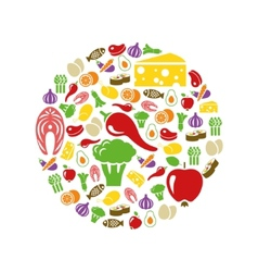 Healthy food icons in circle vector