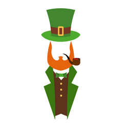 Leprechaun in green hat face head with red beard vector