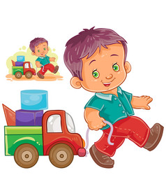 Little boy rolling his car truck vector