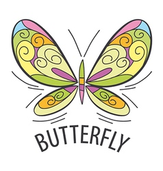 Logo graceful butterfly flies vector