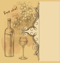 Menu card of grapes bottle wine glass vector