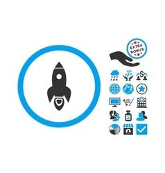 Rocket Start Flat Icon With Bonus vector image vector image