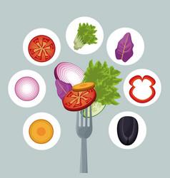 salad vegetables dinner organic fork vector image vector image
