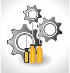 Screwdriver and gears vector
