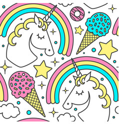 seamless pattern with unicorn rainbow clouds vector image vector image