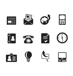 Silhouette Business and office icons vector image vector image