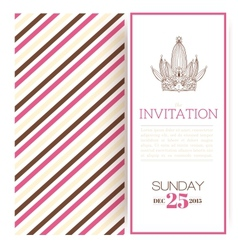 Striped princess invitation template vector