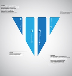 Triangle template consists of four blue parts on vector