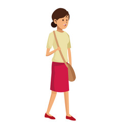 woman casual skirt and bag vector image