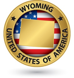 Wyoming state gold label with state map vector