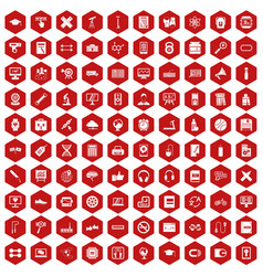 100 training icons hexagon red vector