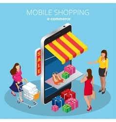 Mobile shopping e-commerce online store flat 3d vector
