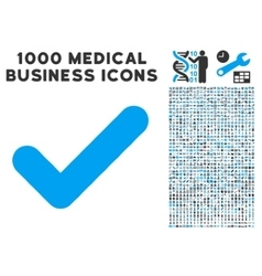 Yes icon with 1000 medical business symbols vector