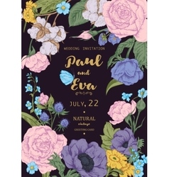 Wedding invitation with wreath of anemones and vector image