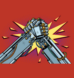 Fighting robots arm wrestling fight confrontation vector
