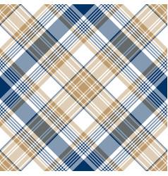 Blue gold tartan diagonal seamless pattern vector