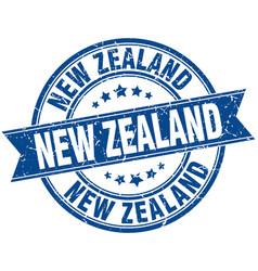 New zealand blue round grunge vintage ribbon stamp vector