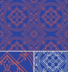 Vintage abstract floral blue seamless pattern th vector