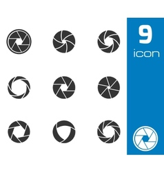 black camera shutter icons set vector image