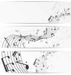 Music notes banners vector