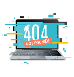 404 not found page in computer concept glitch vector image vector image