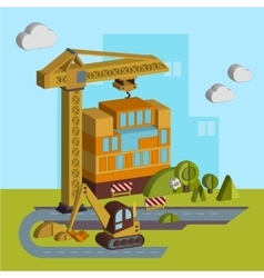 Construction of building in vector
