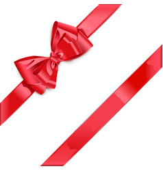 Red ribbon with bow vector