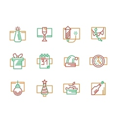 New year and christmas color line icons vector