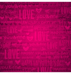 Pink background with valentine hearts and text vector