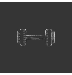 Dumbbell drawn in chalk icon vector