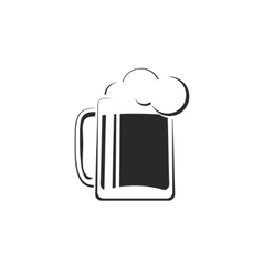 Black and white beer glass with foam icon vector