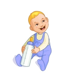 Smiling baby boy with bottle image eps10 vector