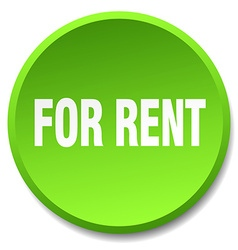 For rent green round flat isolated push button vector