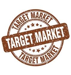 Target market brown grunge round vintage rubber vector
