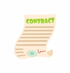 Document contract icon cartoon style vector