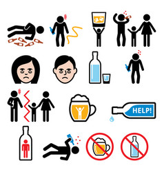 Alcoholism drunk man alcohol addiction icons vector