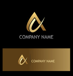 alpha sign abstract gold logo vector image