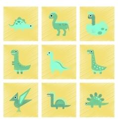 assembly flat shading style icons cartoon dinosaur vector image vector image