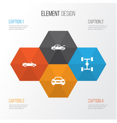 Automobile icons set collection of fixing vector