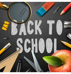 Back to school chalk drawing template with schools vector image vector image