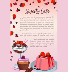 bakery sweet desserts and cakes poster vector image vector image