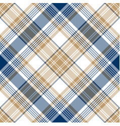 Blue gold tartan diagonal seamless pattern vector