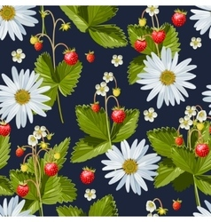 Camomile and wild strawberry seamless vector
