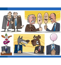 Cartoon politics concepts set vector