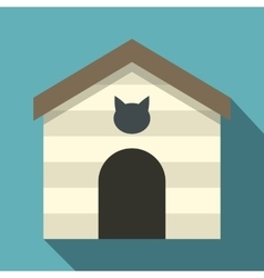 Cat house icon flat style vector